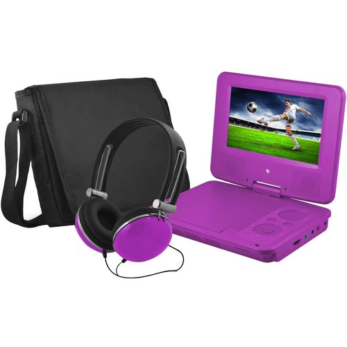"""Ematic EPD707 Portable DVD Player   7"""" Display   480 X 234   Purple 300/500"""