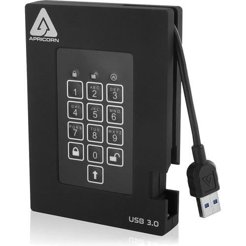 """Apricorn Aegis Padlock Fortress 2 TB Portable Hard Drive - 2.5"""" External - Black"""