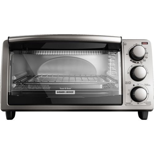Applica Black & Decker 4-Slice Countertop Convection Toaster Oven - Toast, Cooking, Broil, Reheat, Bake, Keep Warm - Silver