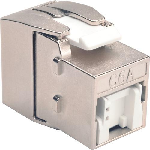Tripp Lite Shielded Cat6a Keystone Jack With Dust Shutter, 180 Degree , Toolless 300/500