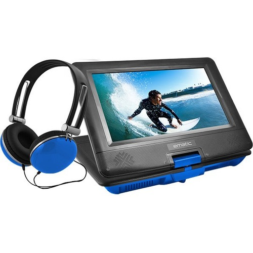 """Ematic EPD116 Portable DVD Player   10"""" Display   1024 X 600   Blue 300/500"""