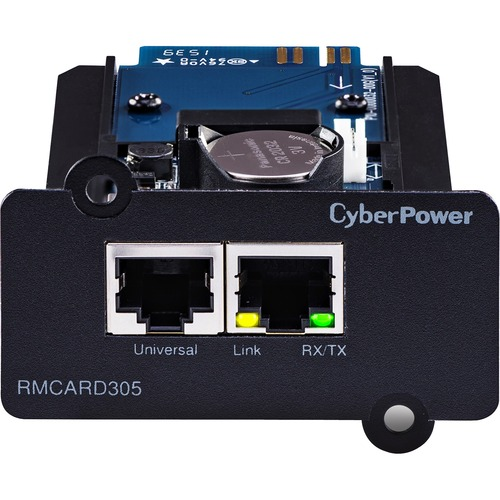 CyberPower UPS Systems RMCARD305 Hardware -  Supported Protocols: TCP/IP, UDP, FTP, SCP, DHCP, DNS, SSH, Telnet, HTTP/HTTPS, SNMPv1/v3, IPv4/v6, NTP, SMTP, and Syslog