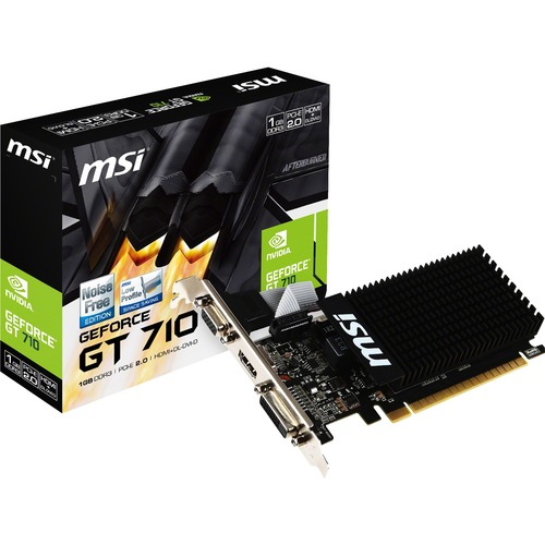 MSI GeForce GT 710 Low Profile Graphics Card - 1GB DDR3 64-bit - Noise free GPU Heatsink - NVIDIA GeForce GT 710 954 MHz - Extreme low ESR - DirectX 12 features