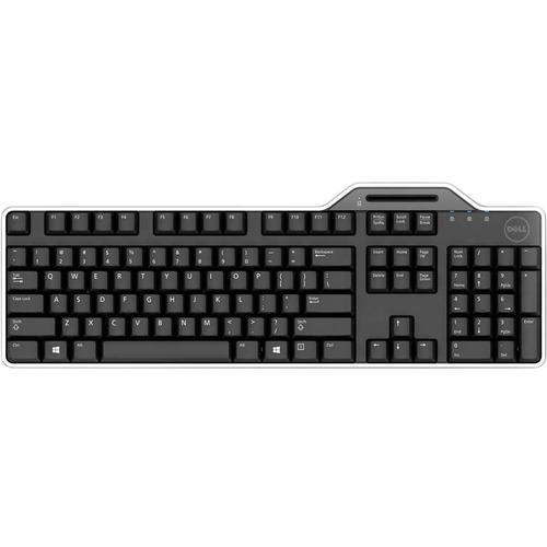 Dell Smartcard USB Wired Keyboard - 104 Low-profile Keys - Integrated Smart Card Reader - Low Profile Keys - Spill-Resistant - Palm Rest