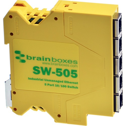 Brainboxes Industrial Compact Ethernet 5 Port Switch DIN Rail Mountable 300/500