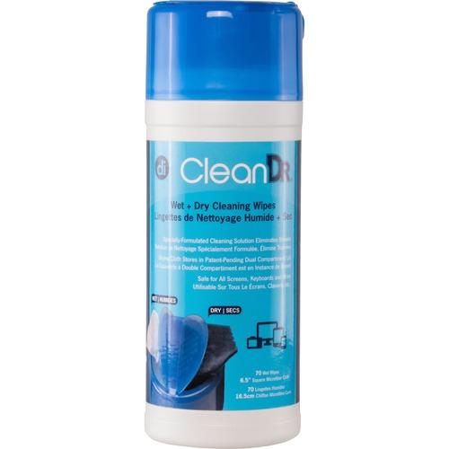 Digital Innovations CleanDr Wet/Dry Streak-Free Wipes, 70-pack
