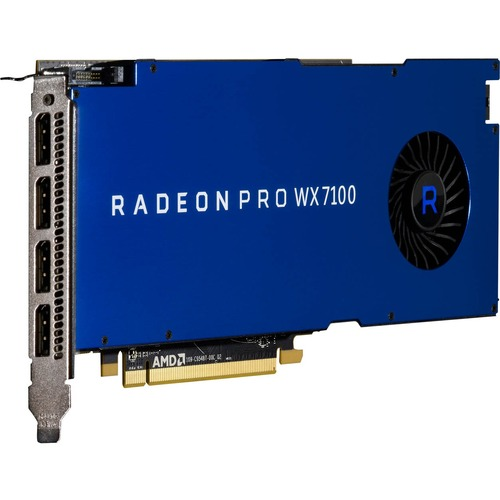 AMD Radeon Pro WX 7100 Graphic Card   2304 Stream Processors   8 GB GDDR5 Memory   1.19 GHz Core   256 Bit Memory Interface   4 X DisplayPort 1.4 300/500