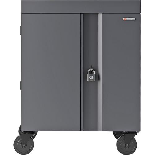 """Bretford CUBE Cart - 1 Shelf - 4 Casters - Steel - 30"""" Width x 26.5"""" Depth x 37.5"""" Height - Charcoal - For 16 Devices PANEL 1.4INW SLOTS"""