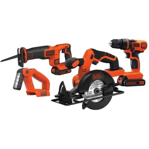Black & Decker 20V MAX DIY 4 Kit: Drill/Driver, Circular Saw, Reciprocating Saw and Work Light