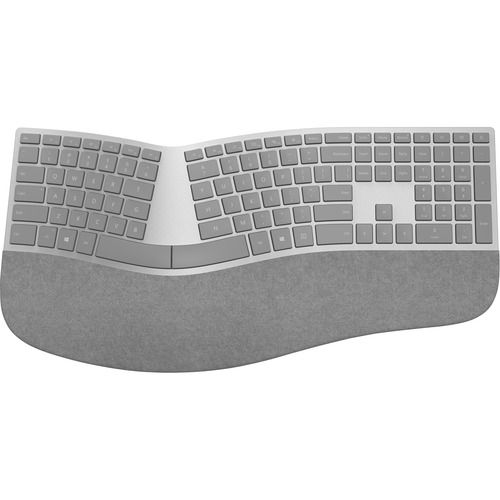 Microsoft Surface Ergonomic Keyboard Gray - Wireless - Bluetooth - QWERTY Key Layout - Made w/ Alcantara Material - Compatible w/ Notebook & Smartphones