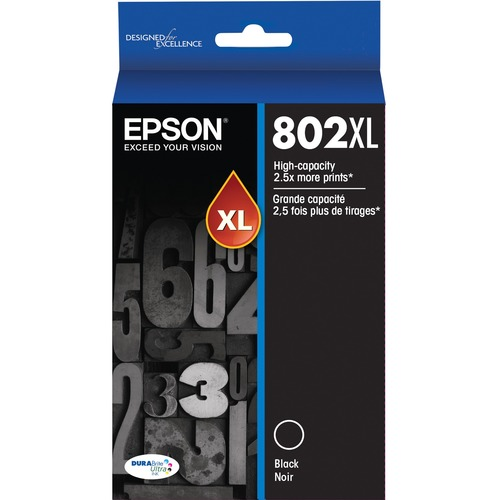 Epson DURABrite Ultra 802XL Original Ink Cartridge   Black 300/500