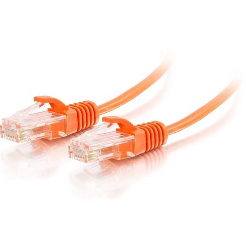 C2G 3ft Cat6 Snagless Unshielded (UTP) Slim Ethernet Network Patch Cable   Orange 300/500