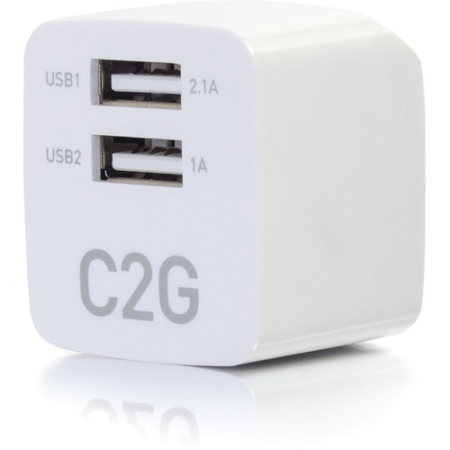 C2G 2 Port USB Wall Charger   AC To USB Adapter   5V 2.1A Output 300/500