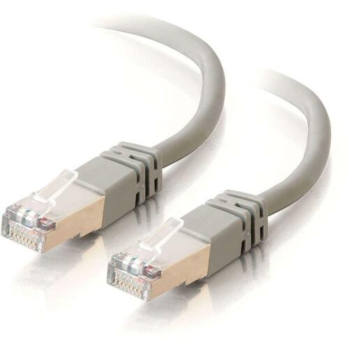 C2G-10ft Cat5e Molded Shielded (STP) Network Patch Cable - Gray