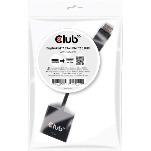 Club 3D DisplayPort 1.2 to HDMI 2.0 UHD Active Adapter