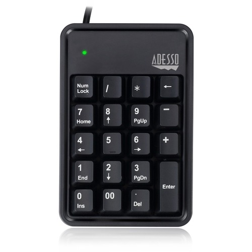 Adesso AKB-600HB - 19-Key Mechanical Keypad with 3-Port USB Hub