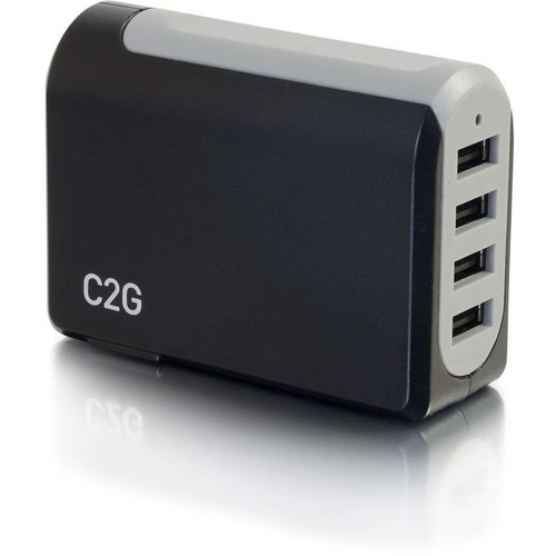 C2G 4-Port USB Wall Charger - AC to USB Adapter, 5V 4.8A Output