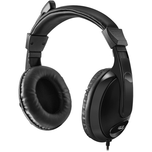 Adesso Xtream H5 Multimedia Headset with Built-in Microphone Black - 6 ft Cable Length - 3.5mm audio jack - Stereo Sound Mode - Omni-directional Microphone