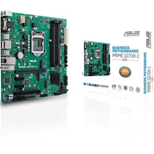 Asus Prime Q370M C/CSM Desktop Motherboard   Intel Chipset   Socket H4 LGA 1151   Intel Optane Memory Ready   Micro ATX 300/500