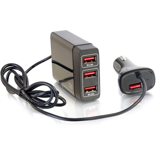 C2G 4 Port USB Car Charger, 5.8A Output 300/500