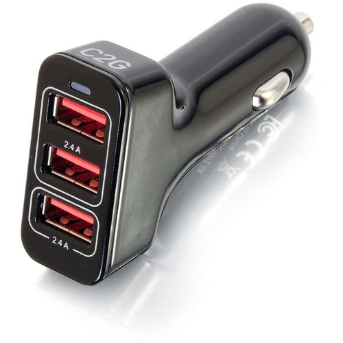 C2G Smart 3-Port USB Car Charger, 4.8A Output