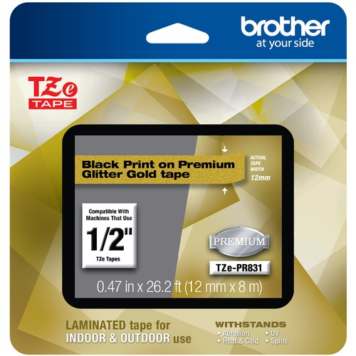 Brother TZe Premium Glitter Laminated Tape   12mm 300/500