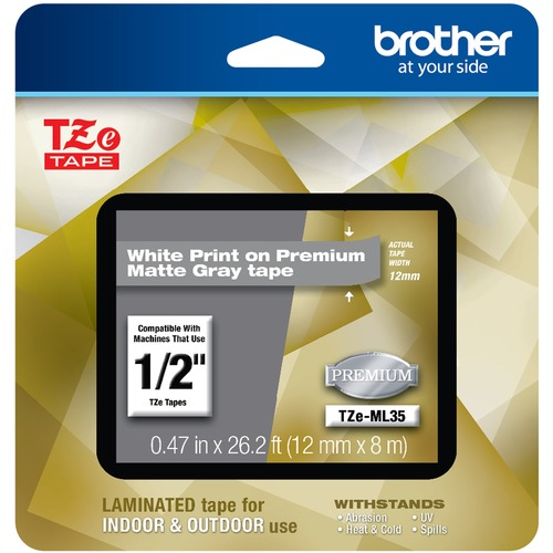 "Brother P Touch TZe ML35 White Print On Premium Matte Gray Laminated Tape 12mm (0.47"") Wide X 8m (26.2') Long 300/500"