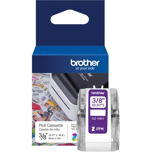 """Brother Genuine CZ 1001 3/8"""" (0.37"""") 9mm Wide X 16.4 Ft. (5 M) Long Label Roll Featuring ZINK® Zero Ink Technology 300/500"""