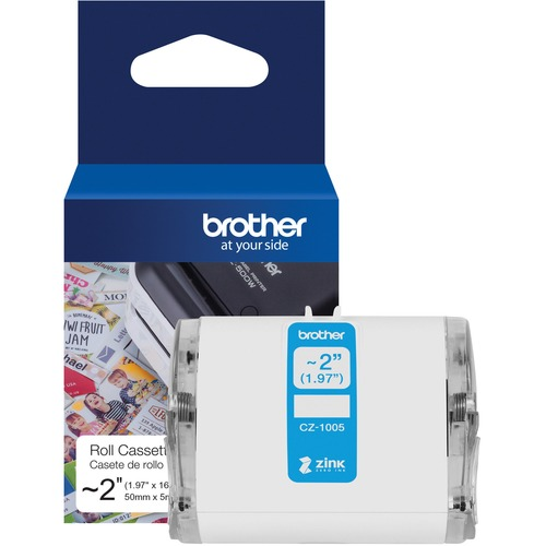 "Brother Genuine CZ 1005 Continuous Length ~ 2 (1.97"") 50 Mm Wide X 16.4 Ft. (5 M) Long Label Roll Featuring ZINK® Zero Ink Technology 300/500"