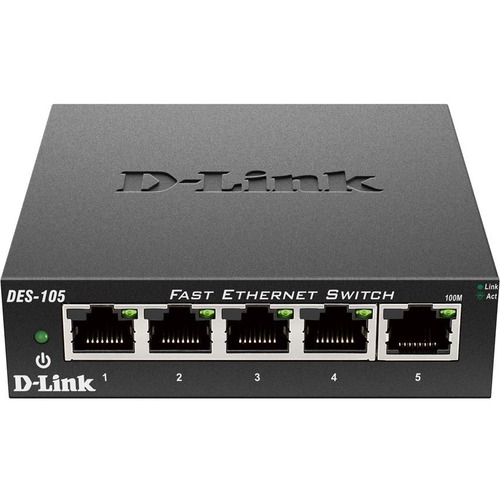 D Link DES 105 5 Port 10/100 Unmanaged Metal Desktop Switch 300/500