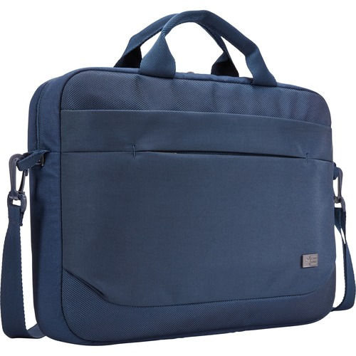 "Case Logic Advantage Carrying Case (Attaché) for 14"" Notebook, Tablet PC, Pen, Portable Electronics, Cord, Cellular Phone, File - Dark Blue"