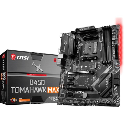 MSI B450 TOMAHAWK MAX Desktop Motherboard   AMD Chipset   Socket AM4   ATX 300/500