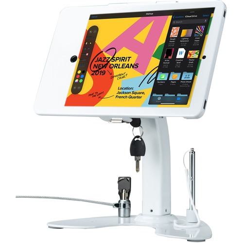 CTA Digital Desk Mount for iPad, iPad Air, iPad Pro, Card Reader - White