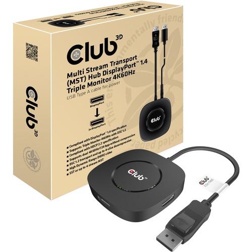 Club 3D CSV-7300, 3 port DisplayPort 1.4 MST Hub 4K60Hz