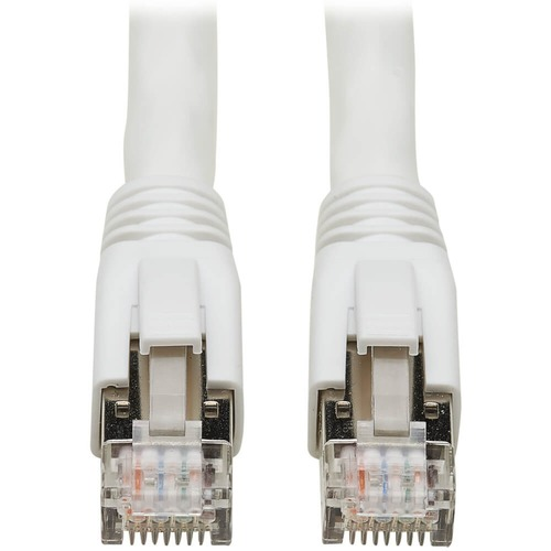 Tripp Lite Cat8 Patch Cable 25G/40G Certified Snagless M/M PoE White 10ft 300/500