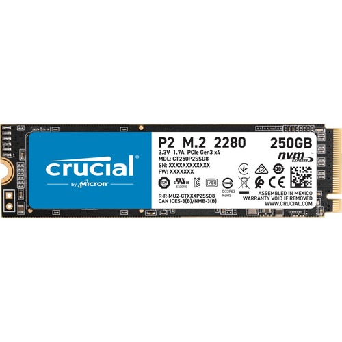 Crucial P2 CT250P2SSD8 250 GB Solid State Drive   M.2 2280 Internal   PCI Express NVMe (PCI Express NVMe 3.0 X4) 300/500