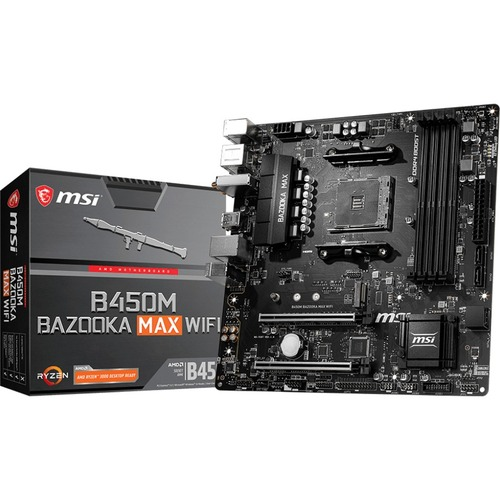 MSI B450M BAZOOKA MAX WIFI Desktop Motherboard   AMD Chipset   Socket AM4   Micro ATX 300/500