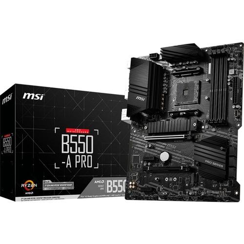 MSI B550 A PRO Desktop Motherboard   AMD Chipset   Socket AM4   ATX 300/500