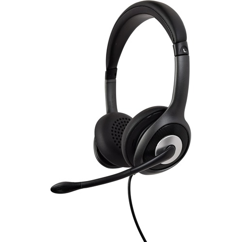 V7 USB C Deluxe Headset With Noise Cancelling Mic, Volume Control, Digital Headset, Laptop Computer, Chromebook, PC   Black, Gray 300/500