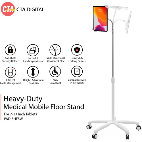 CTA Digital Heavy-Duty Medical Mobile Floor Stand for 7-13 Inch Tablets (White)