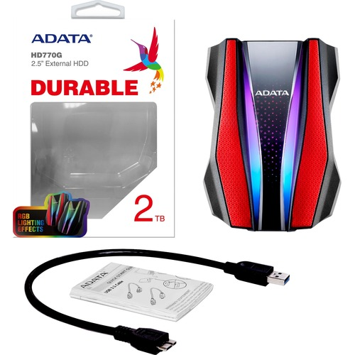 Adata HD770G AHD770G-2TU32G1-CRD 2 TB Hard Drive - External - Red