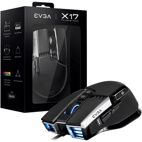 EVGA X17 Wired Customizable Gaming Mouse   USB Cable Interface   16000 Dpi Movement Resolution   10 Total Buttons   5 Customizable On Board Profiles   50 Million Clicks Lifecycle 300/500