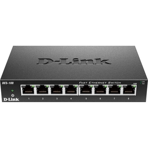 D Link DES 108 8 Port 10/100 Unmanaged Metal Desktop Switch 300/500