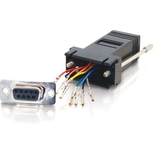 C2G RJ45 To DB9 Female Modular Adapter   Black 300/500