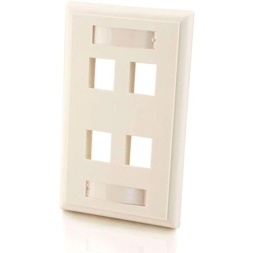 C2G 4-Port Single Gang Multimedia Keystone Wall Plate - White