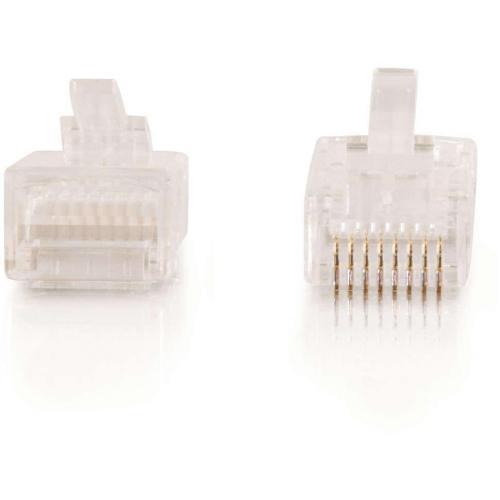 C2G RJ45 Cat5E Modular Plug For Round Stranded Cable   50pk Alternate-Image1/500