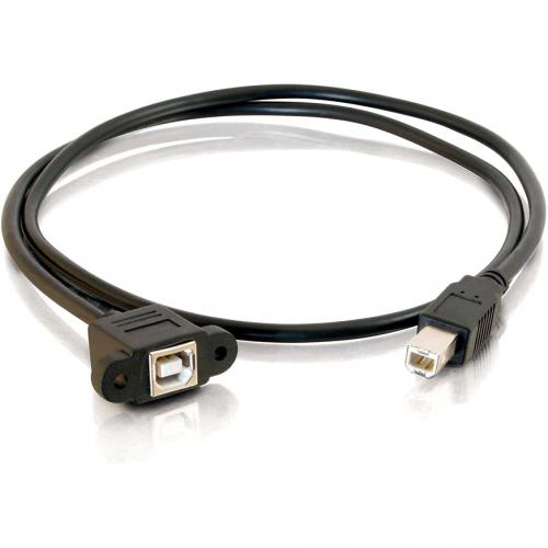 C2G 3ft Panel Mount USB 2.0 B Female To B Male Cable Alternate-Image1/500
