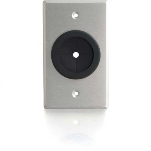 C2G 1.5in Grommet Cable Pass Through Single Gang Wall Plate   Brushed Aluminum Alternate-Image1/500