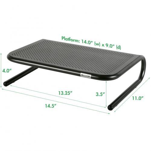Allsop Metal Art Jr. Monitor Stand 14 Inch Wide Platform   Pearl Black (30165) Alternate-Image1/500