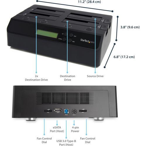StarTech.com 4 Bay USB 3.0 ESATA To SATA Standalone 1:3 HDD Hard Drive Duplicator Dock Alternate-Image1/500